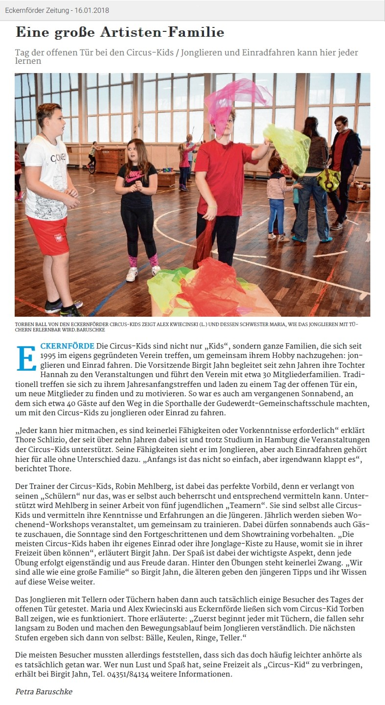 Eckernförder Zeitung vom 16.01.2018